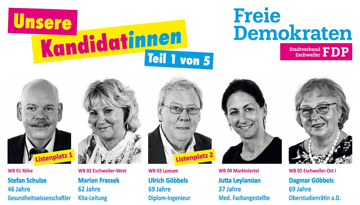 FDP Eschweiler: Unsere Kandidat*innen - Teil 1