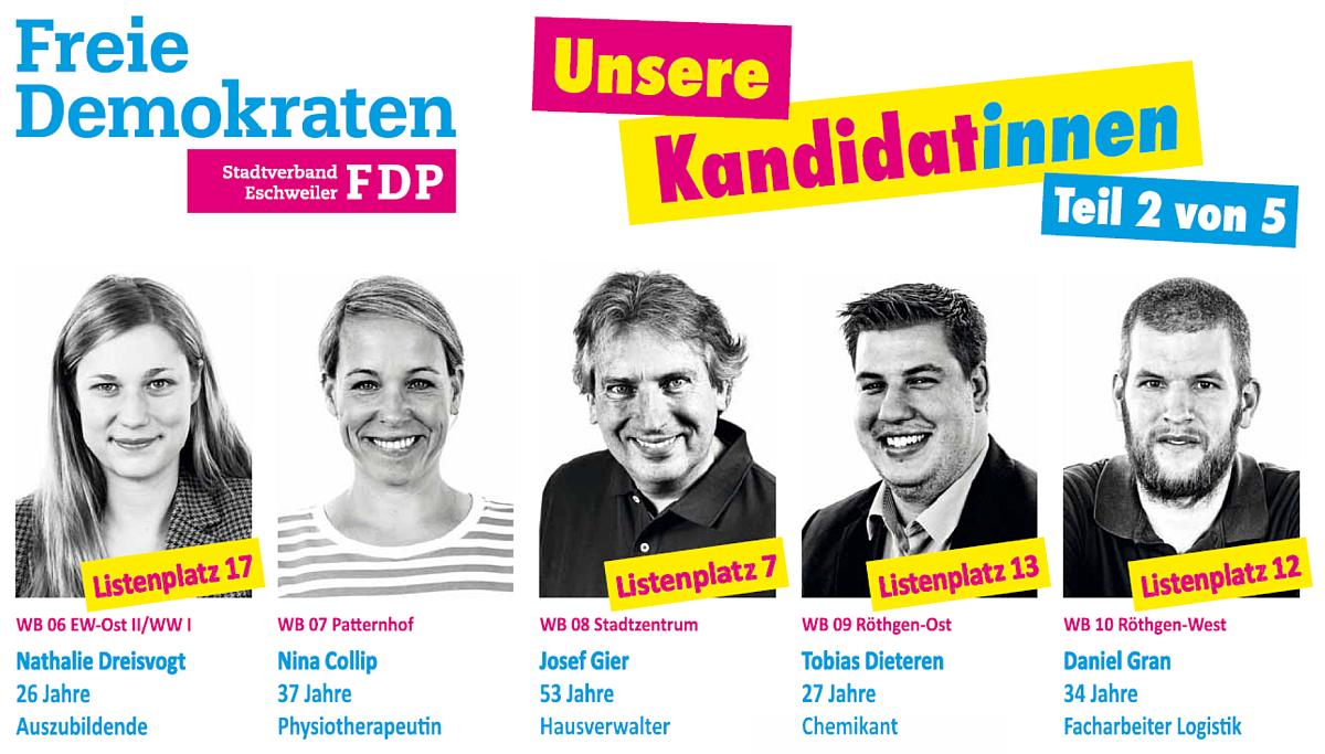 FDP Eschweiler: Unsere Kandidat*innen - Teil 2