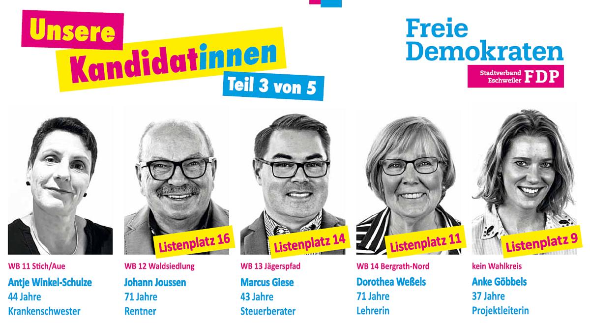 FDP Eschweiler: Unsere Kandidat*innen - Teil 3