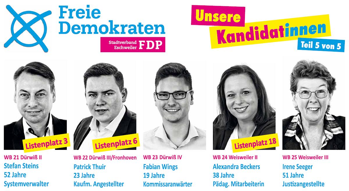 FDP Eschweiler: Unsere Kandidat*innen - Teil 5